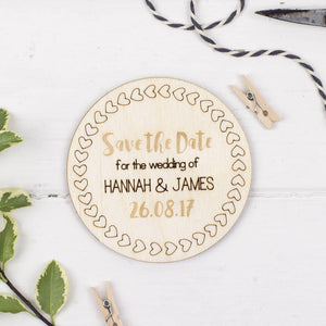 Personalised Save The Date Wooden Magnets - Funky Laser