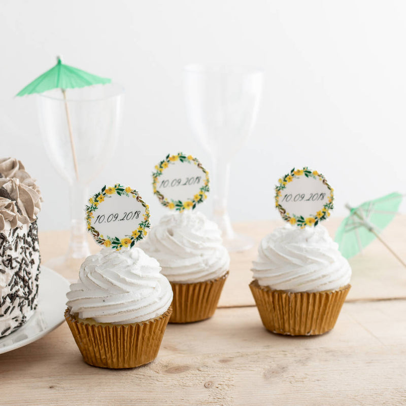 Personalised Floral Wedding Date Cupcake Topper Set of 12 - Funky Laser