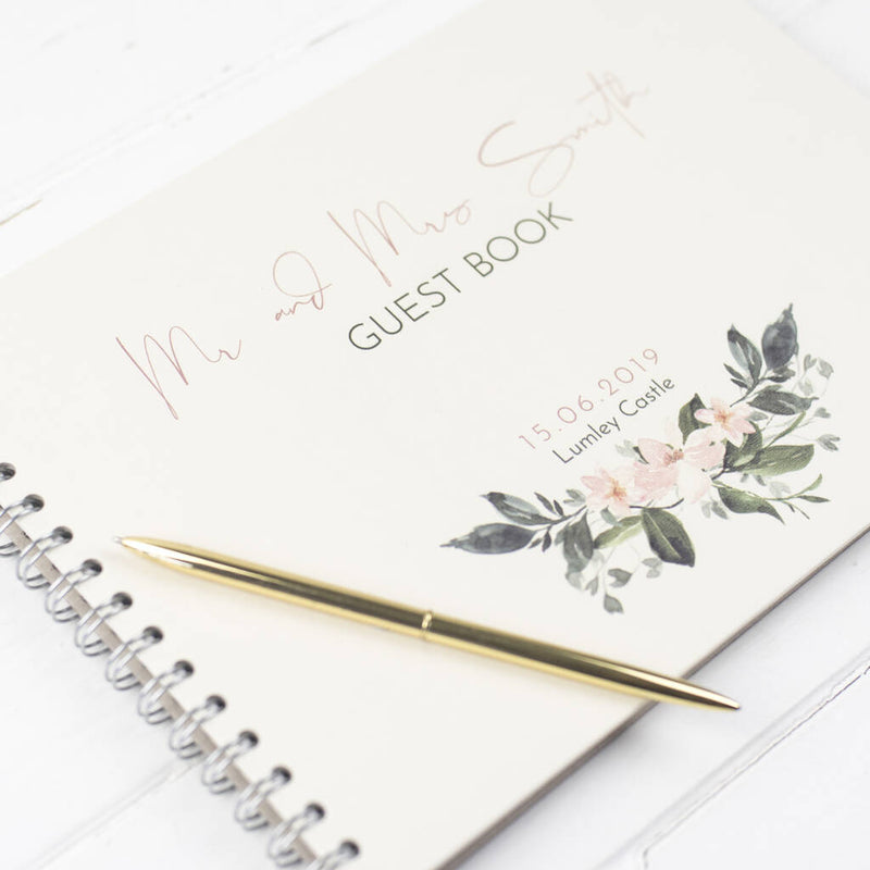 Personalised Floral Wedding Guest Book
