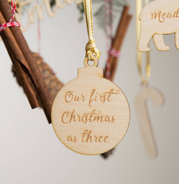 Personalised Wooden Round Christmas Bauble - Funky Laser