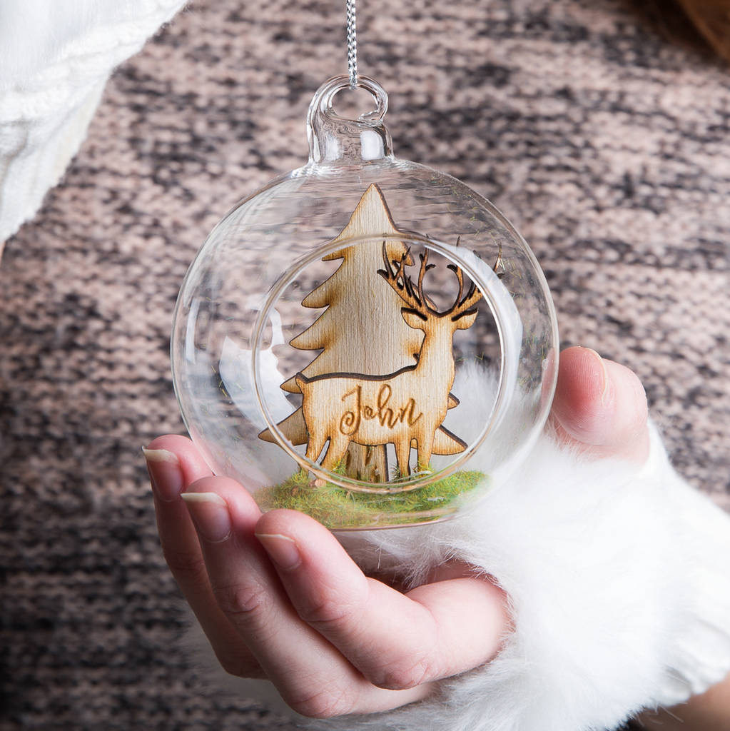Personalised Woodland Stag Christmas Bauble Gift - Funky Laser