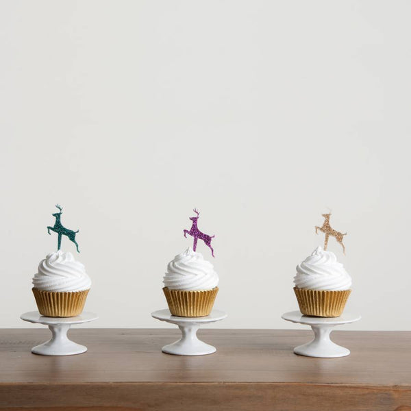 Set of Six Christmas Reindeer Cake Toppers
