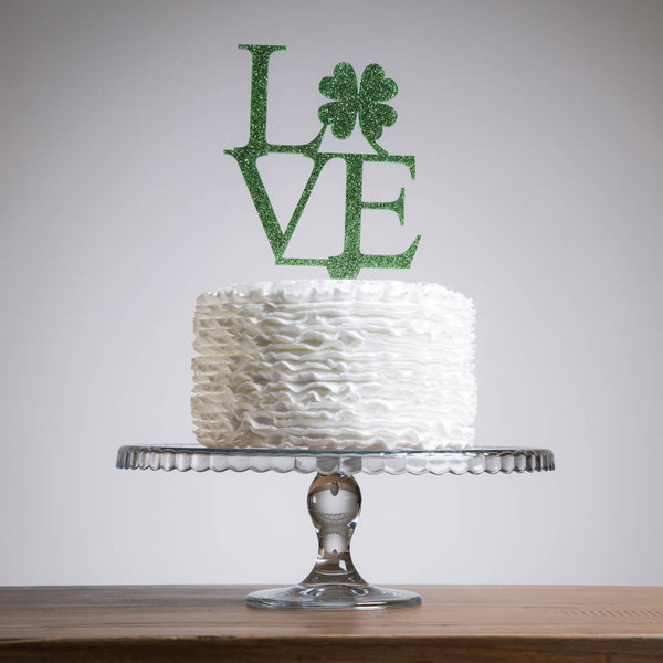 Love Shamrock Clover Celebrations Cake Topper - Funky Laser