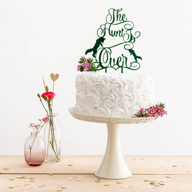 The Hunt Is Over Wedding Cake Topper Decoration in Racing Green - Funky Laser