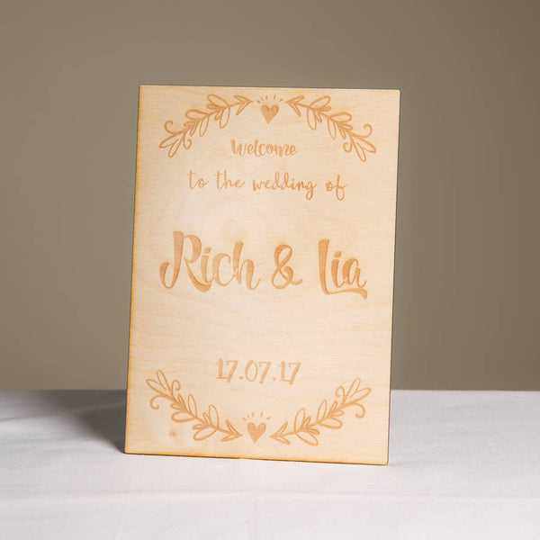 Personalised Wooden Welcome Wedding Sign - Funky Laser