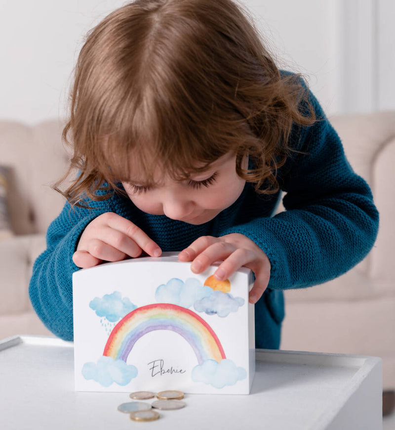 White Personalised Rainbow And Clouds Money Pot - Funky Laser