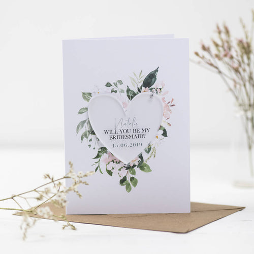 Will You Be My Bridesmaid Card With Heart Decoration - Funky Laser
