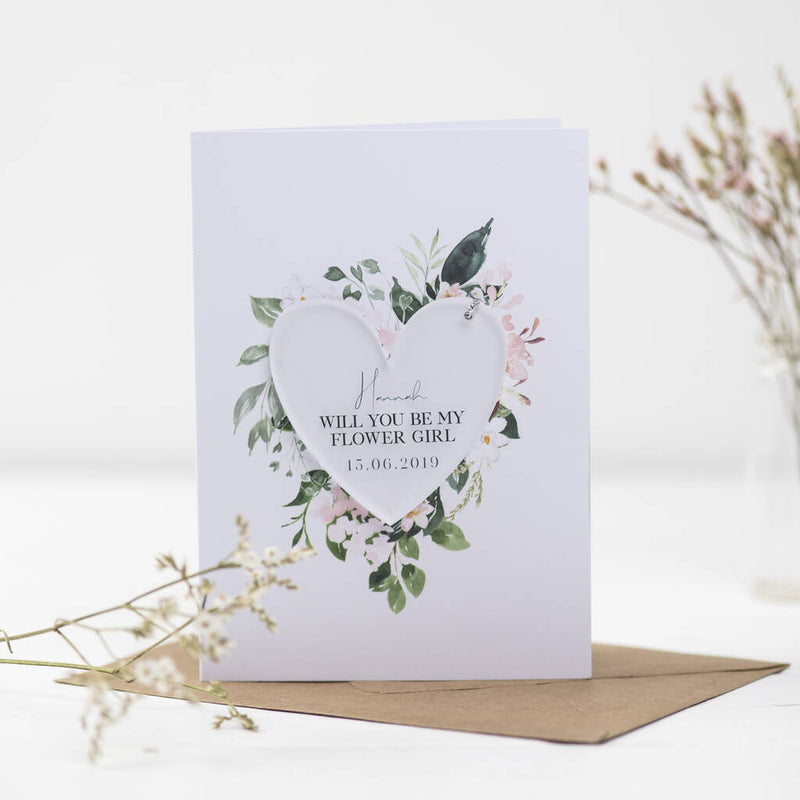 Will You Be My Flower Girl Card With Heart Decoration - Funky Laser