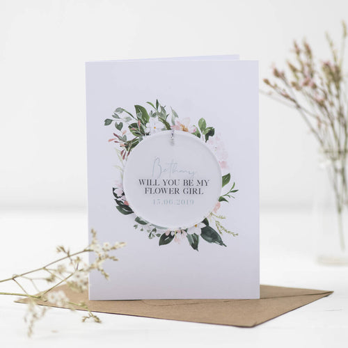 Will You Be My Flower Girl Card With Circle Decoration - Funky Laser