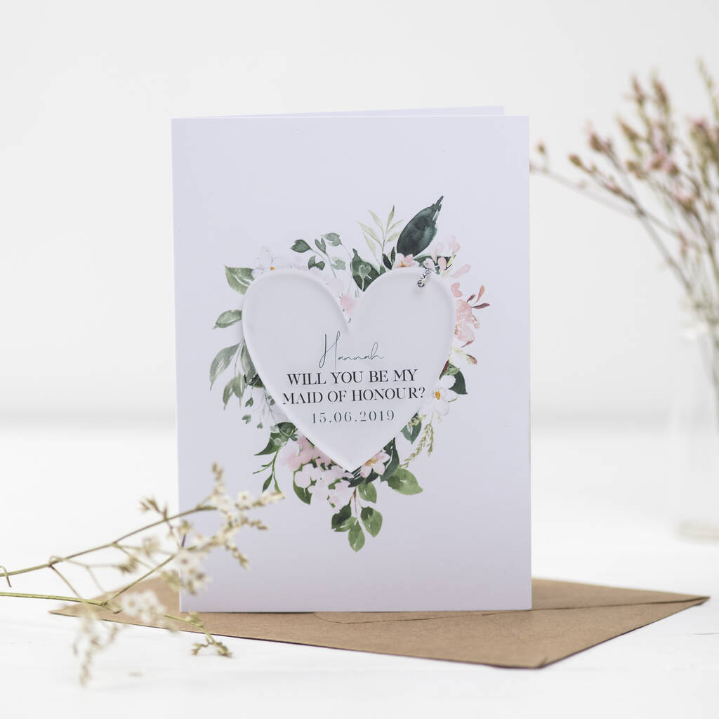 Will You Be My Maid Of Honour Heart Decoration Card - Funky Laser