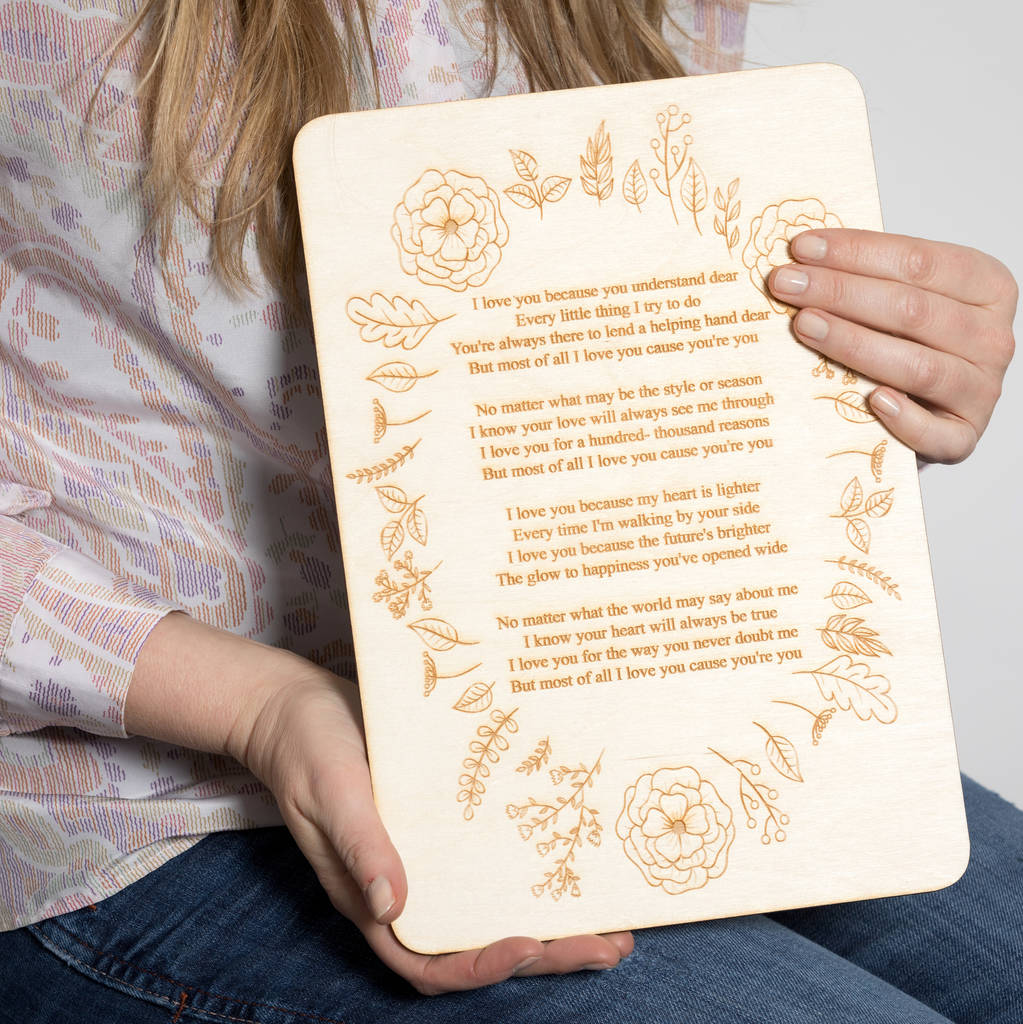 Wooden Personalised Poem Or Song Sign