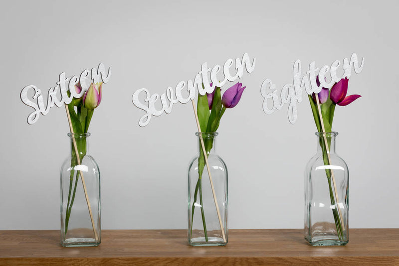 Silver Wooden Script Table Numbers Set - Funky Laser