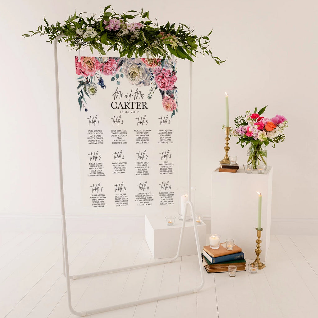 Peony Wedding Seating Plan In Clear Acrylic - Funky Laser