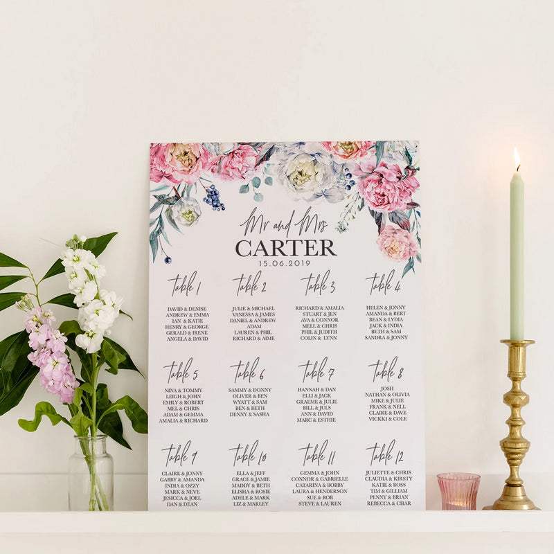 Peony Wedding Seating Plan In Luxury Mount Board - Funky Laser