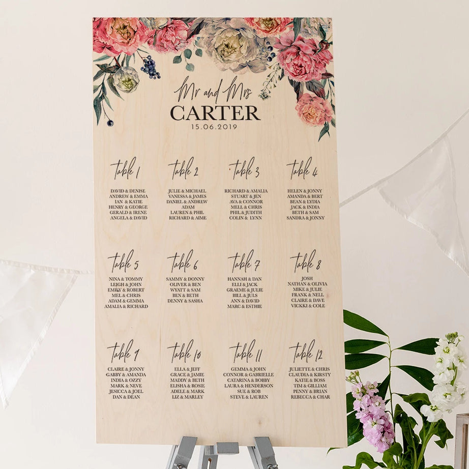 Peony Wedding Seating Plan In Wood - Funky Laser