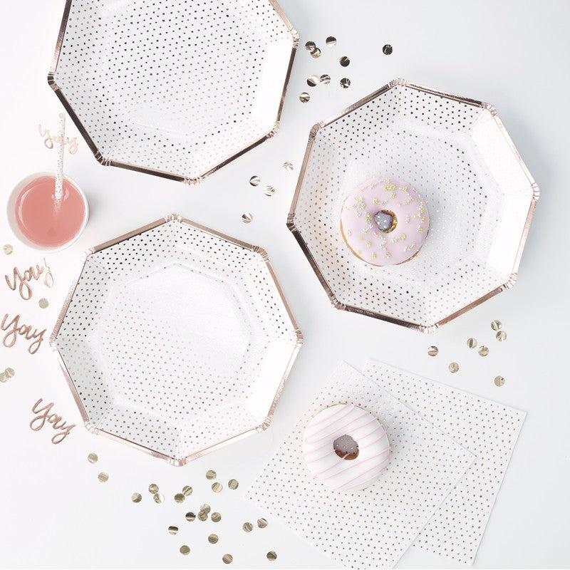 ROSE GOLD FOILED SPOTTY PAPER PLATE SET - Funky Laser
