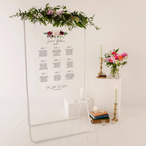 Burgundy Floral Wedding Seating Plan In Clear Acrylic - Funky Laser
