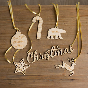Set Of Six Personalised Christmas Wooden Baubles - Funky Laser