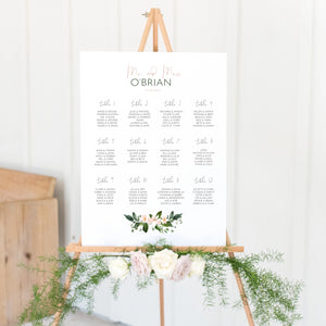 Floral Wedding Seating Plan In White Acrylic - Funky Laser
