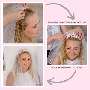 White Floral Bride Headband With Detachable Veil - Funky Laser