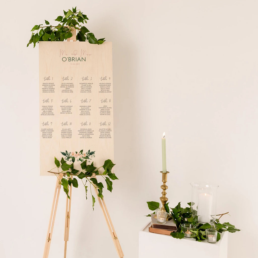 Floral Wedding Seating Plan In Wood - Funky Laser