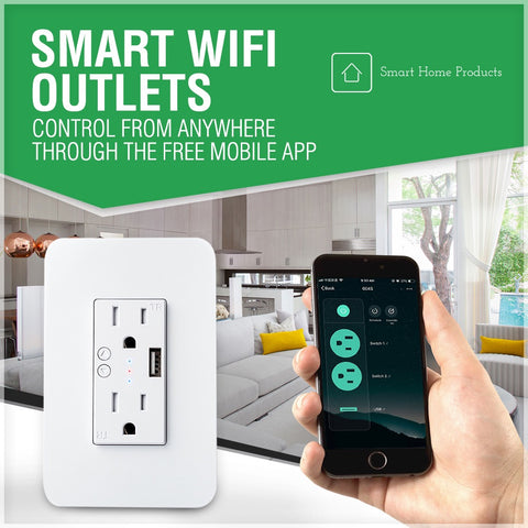 Smart wifi outlet wireless control and timers