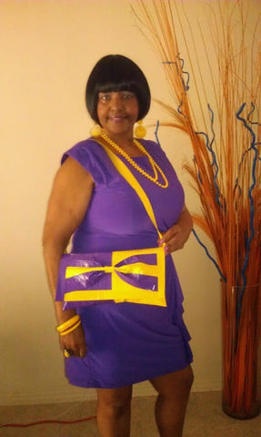 My Mom wearing a custom Ebony Rae Shop design!