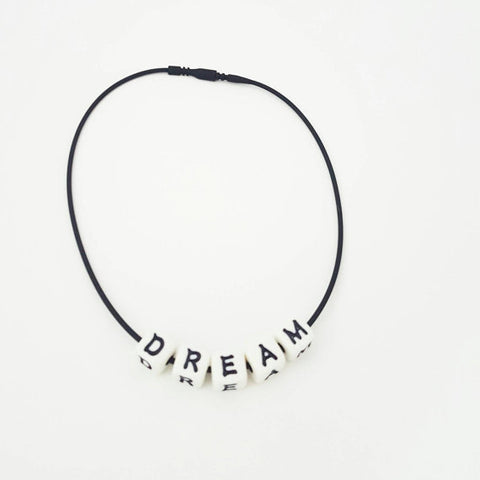 90's Fashion Choker, Block Letter Dream Necklace, Hipster Chokers, Women's Necklaces, Ebony Rae - Ebony Rae Shop
