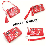 Cute Red Womens Wristlet Purse Set, Sticker Clutch Bag with Strap