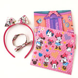 Pink Minnie Mouse Hair Bow Headband Bracelet Gift Set - Stickers Board