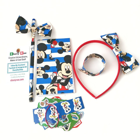 Blue Mickey Mouse Hair Bow Red Headband Bracelet, Girl's Gift Set