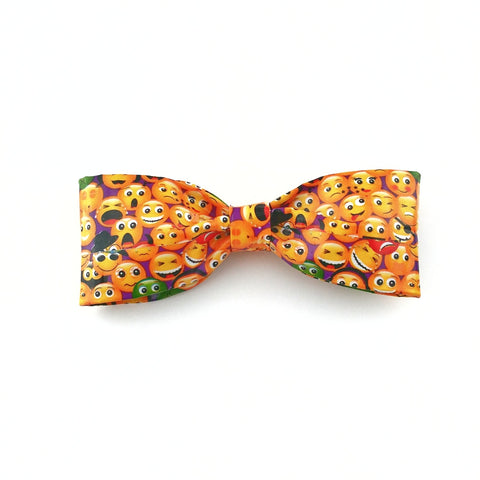 Cool Yellow Clip On Bow Tie, Funny Emoji Tie, Unique Bowties For Boys