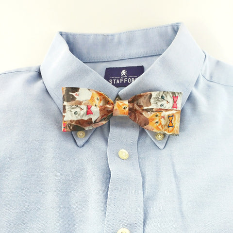 Cool Clip On Bow Ties For Boys, Crazy Cat Bowtie For Men, Unique Ties