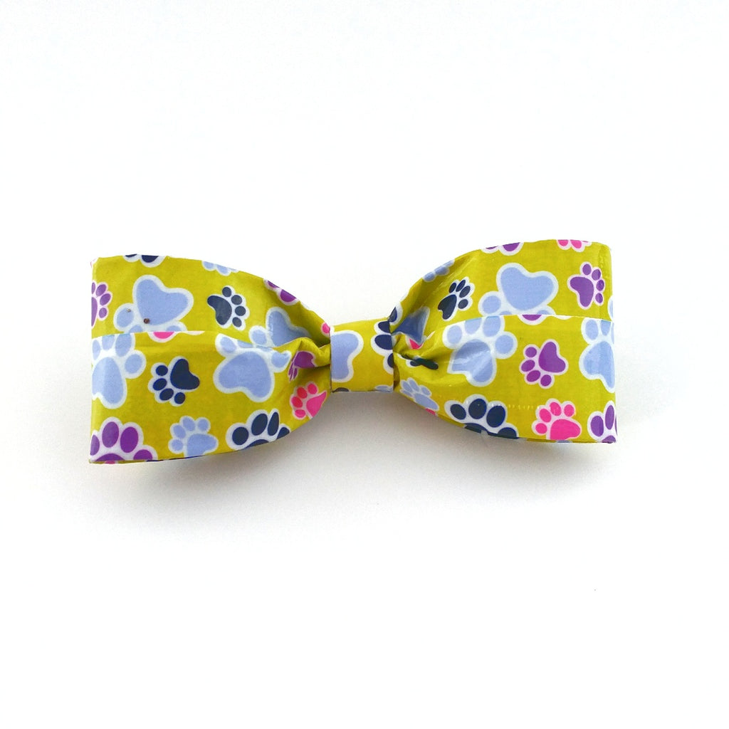 cute green clip on bow tie for men paw print tie cool bowties for