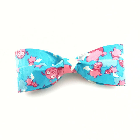 Funny When Pigs Fly Bow Tie, Blue Clip On Bowtie, Crazy Ties