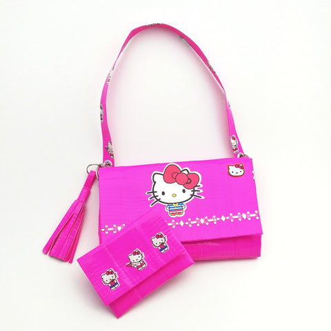 Cute Pink Women's Wristlet Purse Set, Unique Hello Kitty Clutch Bag