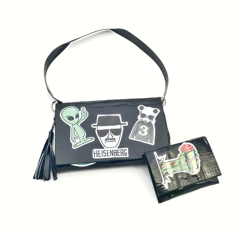 Cute Black Wristlet Purse Set, Fun Heisenberg Sticker Clutch Bag
