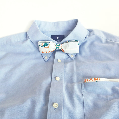 White Clip-On Bow Tie Set For Men, Cool NFL Miami Dolphins Bowtie