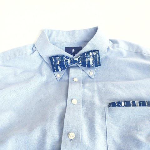 Blue Clip-On Bow Tie Set For Men, Cool NFL Seattle Seahawks Bowtie