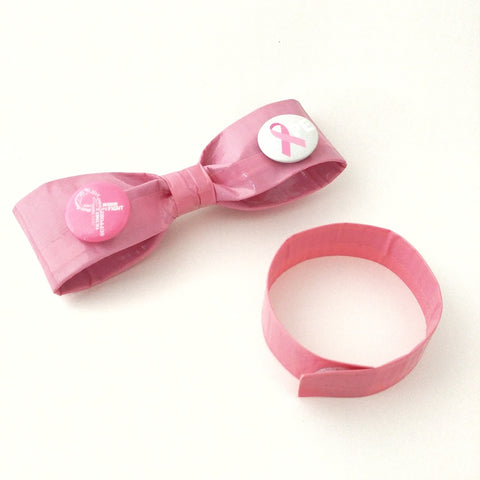 Pink Breast Cancer Awareness Ribbon ClipOn Bow Tie Set, Unique Bowties