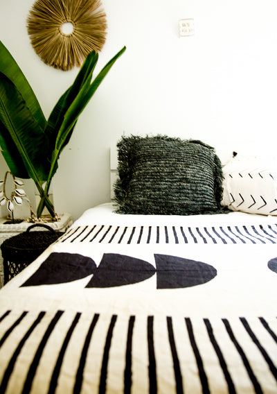Phases block print bed + decor throw
