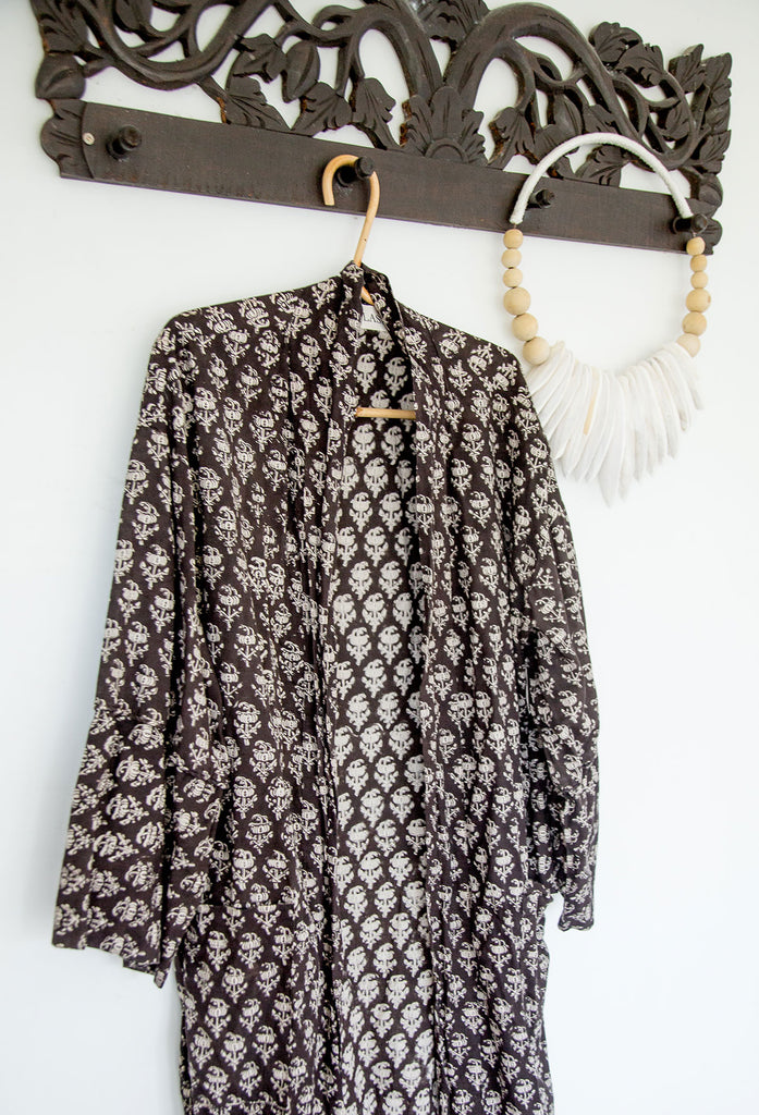 Bagru black block print cotton lounge robe