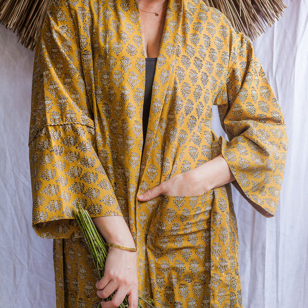 Bagru mustard block print cotton lounge jacket