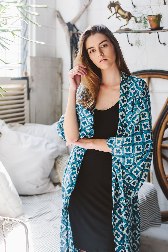 Jali block print cotton robe
