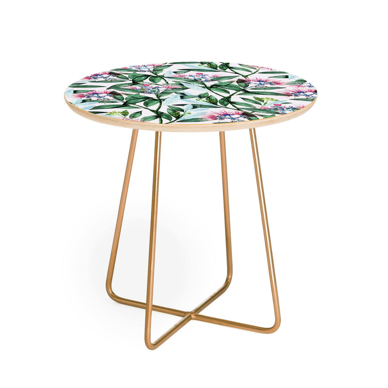 83 Oranges Floral Cure One Round Side Table - the printy people