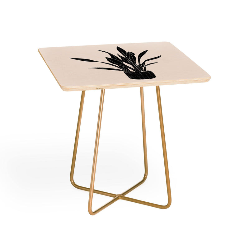 Alisa Galitsyna Black And White Snake Plant Side Table - theprintypeople
