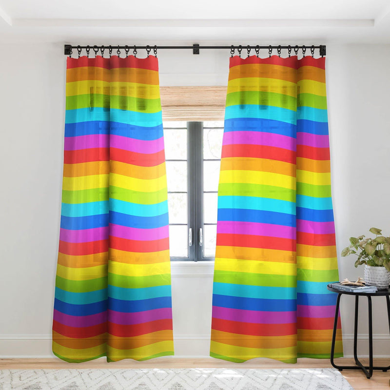 Avenie Bright Rainbow Stripes Sheer Window Curtain - theprintypeople