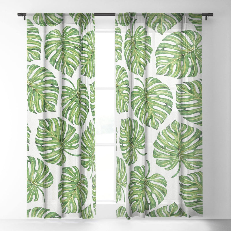 Avenie Tropical Palm Leaves Green Sheer Non Repeat - theprintypeople