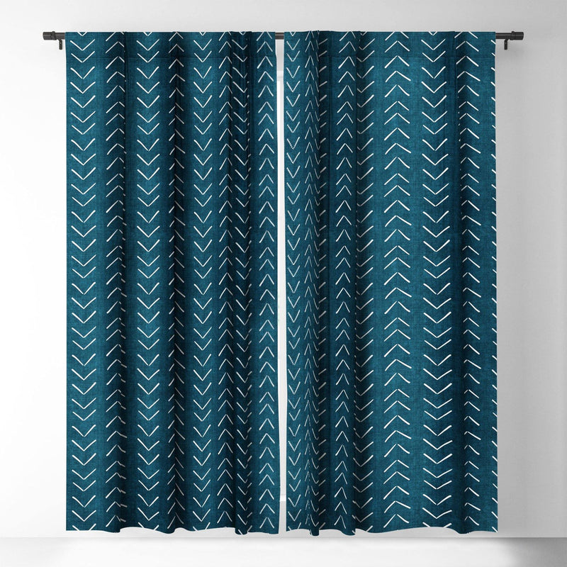 Becky Bailey Mud Cloth Big Arrows In Teal Blackout Window Curtain - theprintypeople