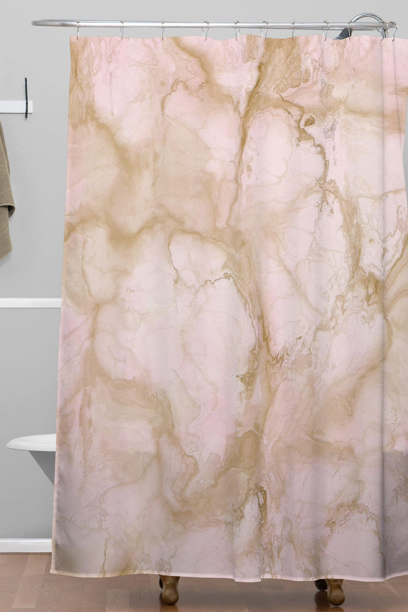 Chelsea Victoria Pink Marble Shower Curtain - theprintypeople